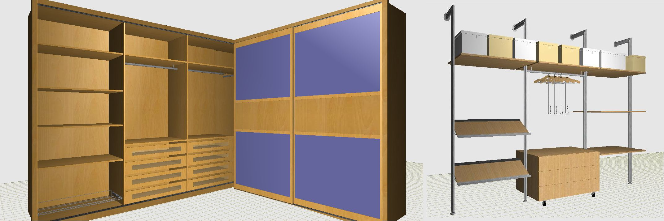 3D photorealistic image of the wardrobe with or without doors